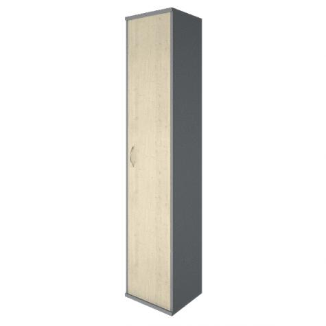 Шкаф высокий узкий закрытый правый, цвет клен металлик