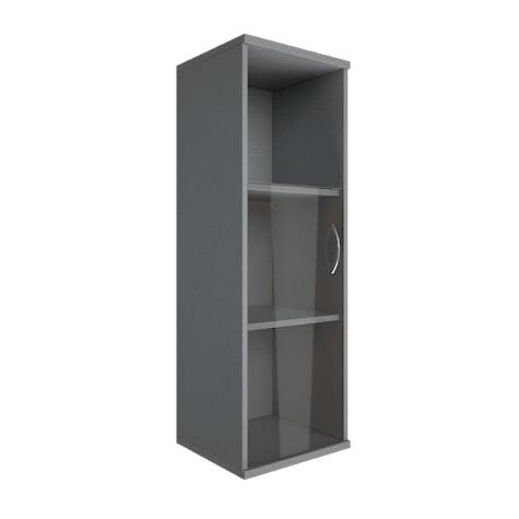 Шкаф средний узкий со стеклом и полкой левый, цвет металлик