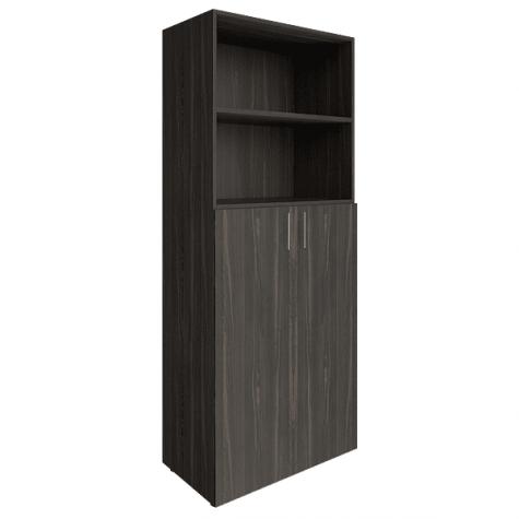 Шкаф высокий (2 открытые полки), цвет темное дерево
