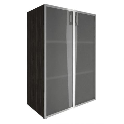 Шкаф средний со стеклом в раме, цвет темный дуб