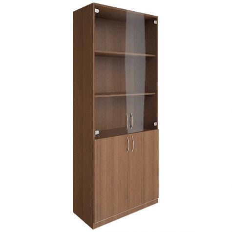 Шкаф для документов (3 полки под стеклом), цвет орех