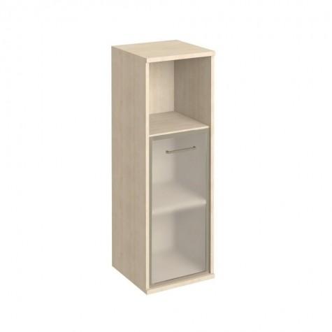 Шкаф узкий средний со стеклом в раме и полкой, цвет клен