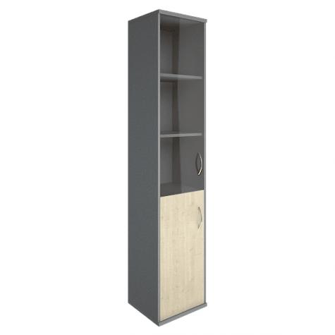 Шкаф высокий узкий со стеклом и нишей левый, цвет клен металлик