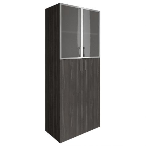 Шкаф высокий (2 полки под стеклом в раме), цвет темный дуб