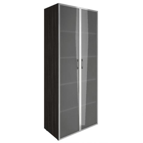 Шкаф высокий со стеклом в раме, цвет темный дуб