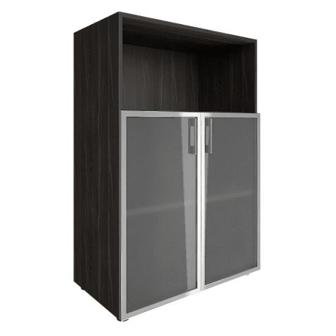 Шкаф средний со стеклом в раме (1 открытая полка), цвет темное дерево