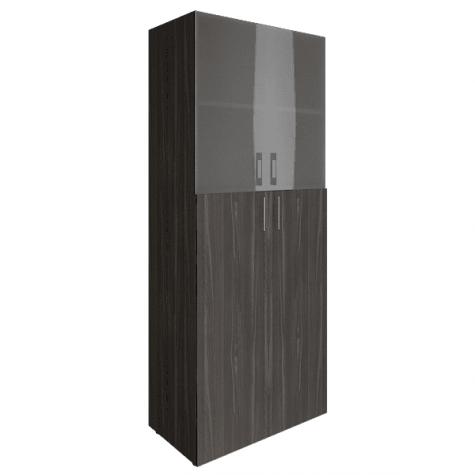 Шкаф высокий (2 полки под стеклом), цвет темный дуб