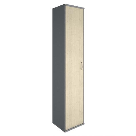 Шкаф высокий узкий закрытый левый, цвет клен металлик