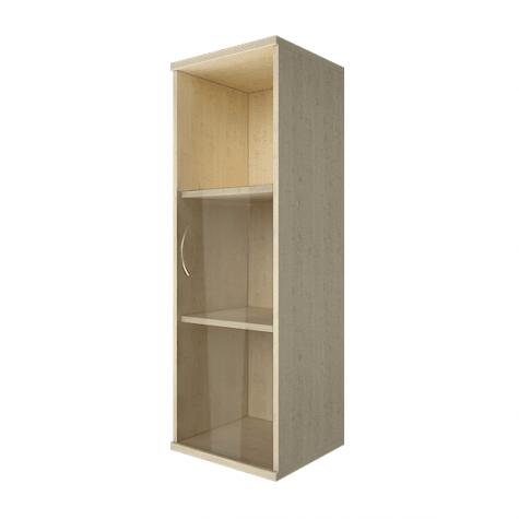 Шкаф средний узкий со стеклом и полкой правый, цвет клен